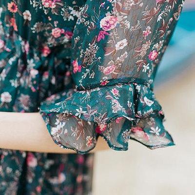 小花柄 フリル袖 シアースワンピース ロング フレア 半袖 アンティーク風 カジュアル 春夏 20代 30代 40代 新作 服 レディース アパレル