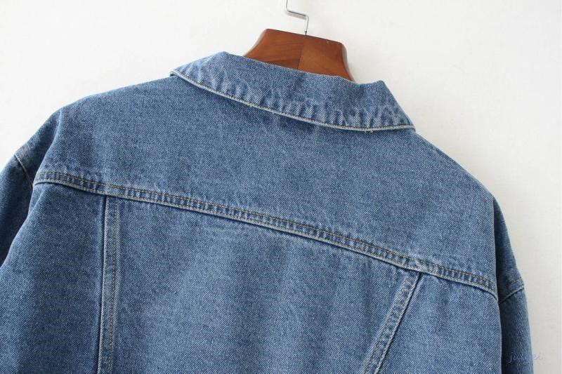 2カラー揃いで  ハイウエスト 着やせ 長袖 ショート丈 デニムジャケット レディース BF風 ゆったり、体型カバーになる