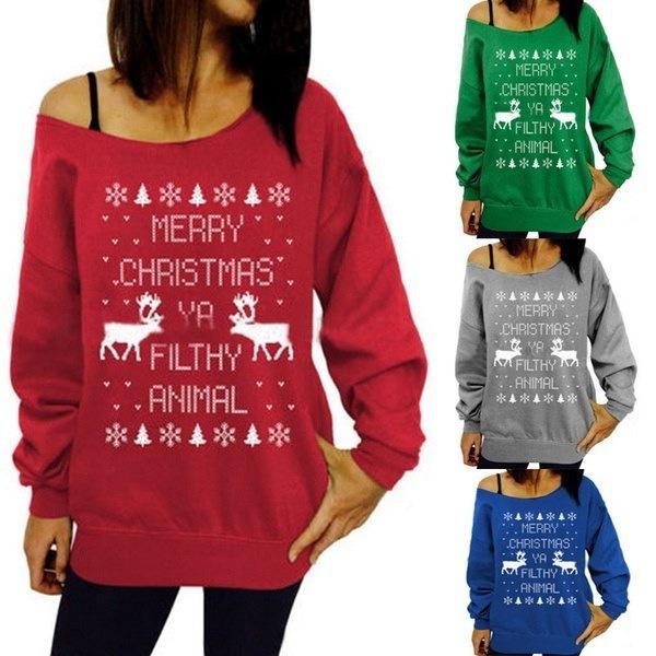 FashionChristmas theme pattern printing collar hedging sweater Gifts