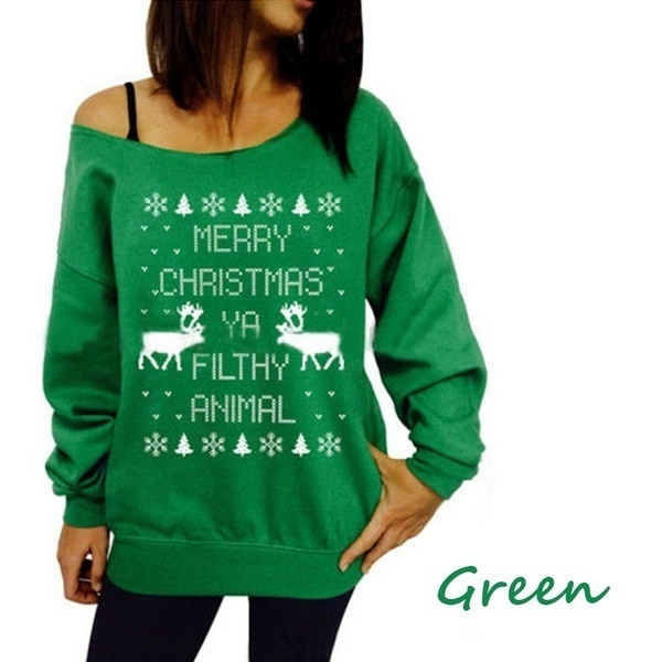 FashionChristmas theme pattern printing collar hedging sweater Gifts