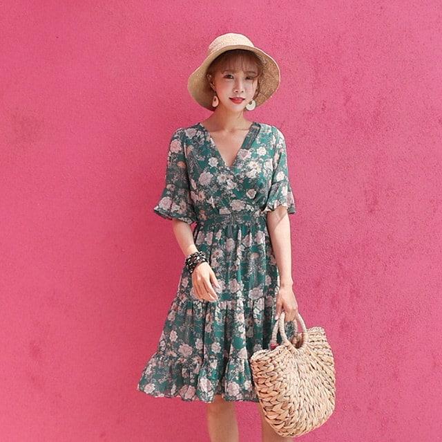 夏半袖花柄ラップスタイルシフォンワンピースデイリールックkorea women fashion style
