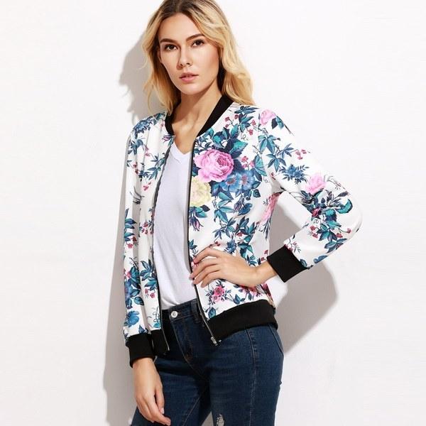 ファッション女性花柄プリントセクシーな爆弾ジャケットバイカーコート