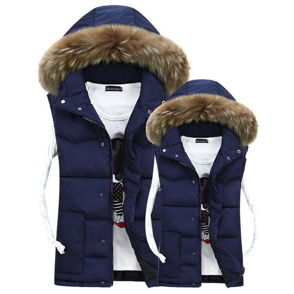 2017 Winter Style Men Women Couple Fur Collar Hooded Thick Warm Down Coat Vest Waistcoat Jacket MU31