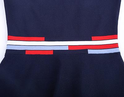 韓国 リブデザイン ニットワンピース トリコロール パーティ オトナ かわいい レトロ トレンド 通勤にも お出かけにも オルチャン韓国 オルチャン