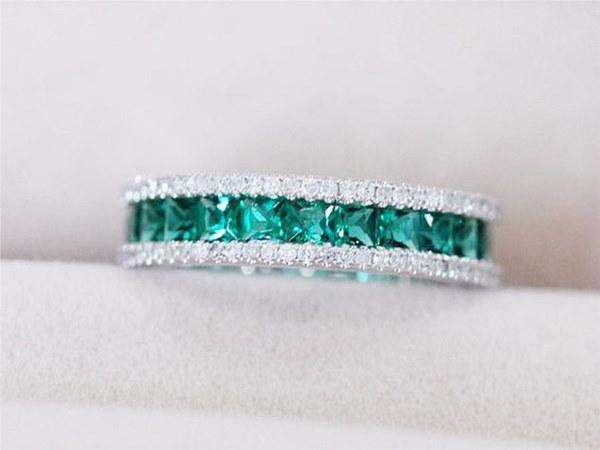 925スターリングシルバーナチュラルルビージェムストーン誕生石の花嫁の結婚式の婚約奇妙なリングのサイズ6 7