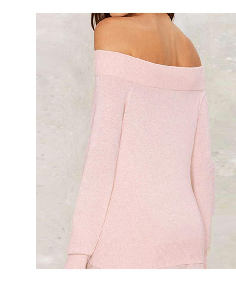 时尚纯色性感露肩一字领毛衣