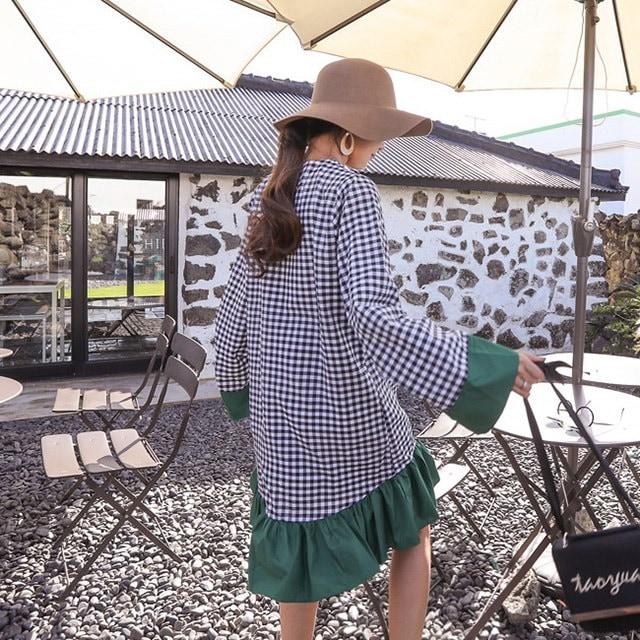 オンバル配色フリル秋チェックパターンのワンピースデイリールックkorea women fashion style