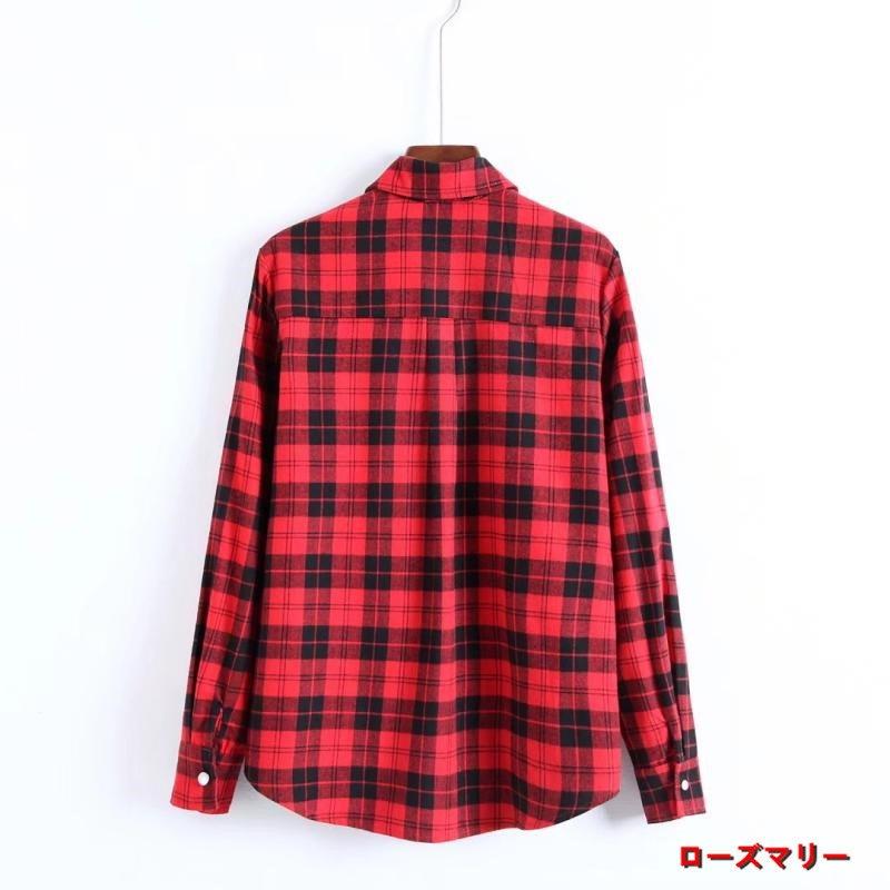 【ローズマリー】赤いチェックのスパンコール花刺繍長袖シャツ女秋冬コーデに新品ストレート着やせ単ダブルポケットシャツ チェック柄 ヴィンテージ調  ベーシック 大人気-QQ4050