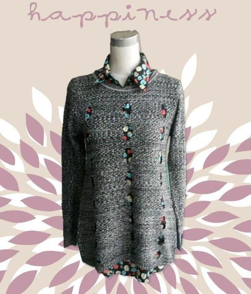 ニットチュニック 透かし編み 長袖×シフォンブラウス 2点セット