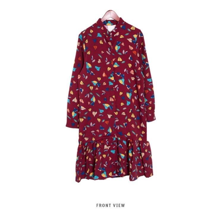 『香港製』SELLISHOP  Leaf フリル ワンピース「大きいサイズ 大人 韓国 ファッション・結婚式・フォマール 黒 フレア 30代 40代 50代 スレンダー・Aライン,上品・ロング ミセス