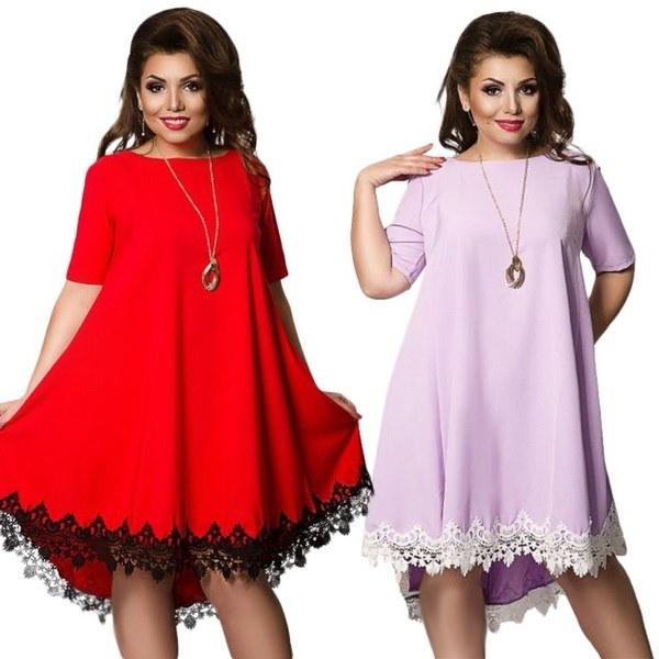 新しいサマーバックレスラージサイズドレスプラスサイズの女性の服ルースドレスショートスリーブレースドレス