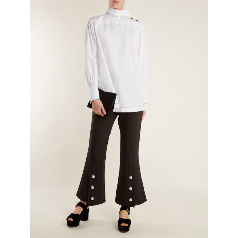 ソニア リキエル レディース トップス ブラウス・シャツ【High-neck cotton shirt】White