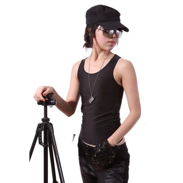 レズビアン・トムソン・クロップ・ベスト・タンクトップアンダーシャツ・乳房胸当て・FTMレギュラー・レングス黒/白