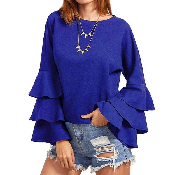 新しいファッション女性は、ベルスリーブカジュアルソリッドレディーストップブラウスシャツトップフレアフレア
