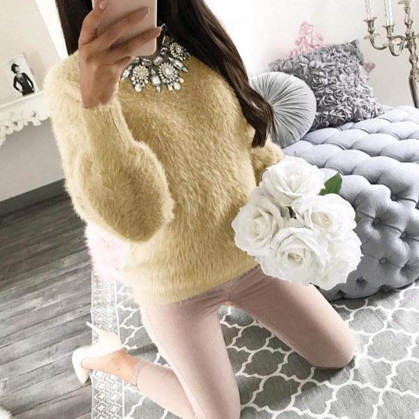 女性エレガントな長袖セーター冬の暖かいプルオーバーフリースブラウス