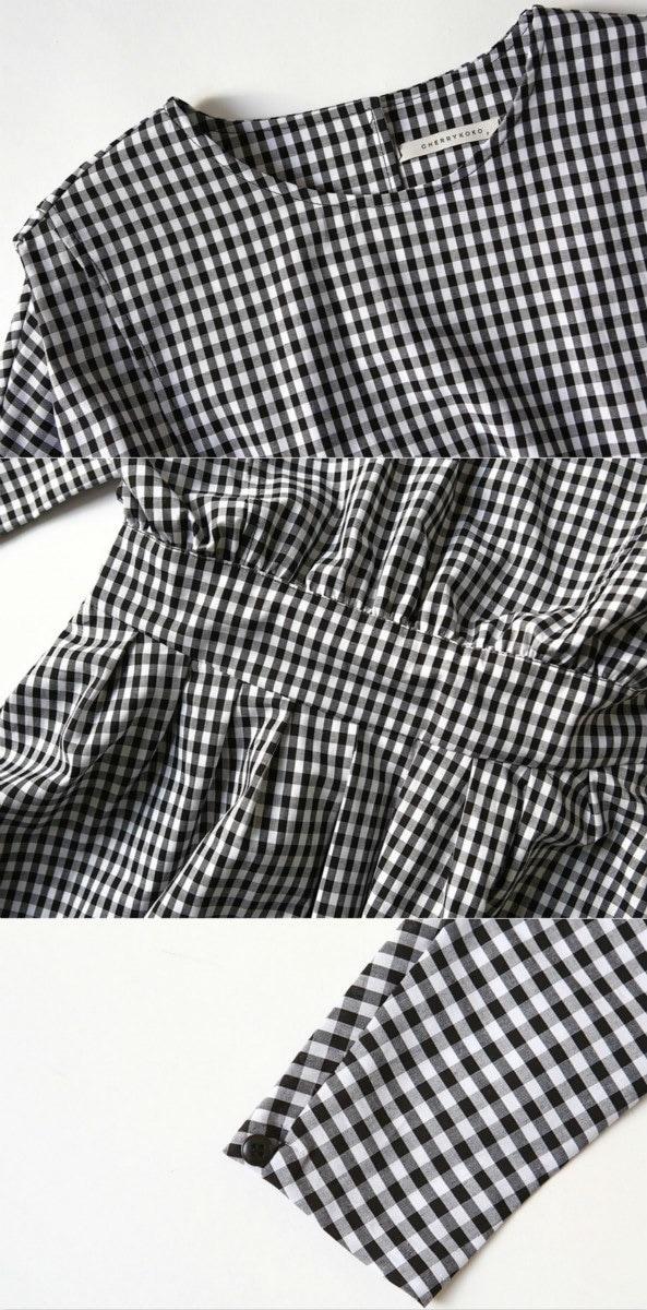 【売り切りセール】【安心の国内発送】glyq019 70年代ムード満点のミモレ丈のギンガムチェックワンピース