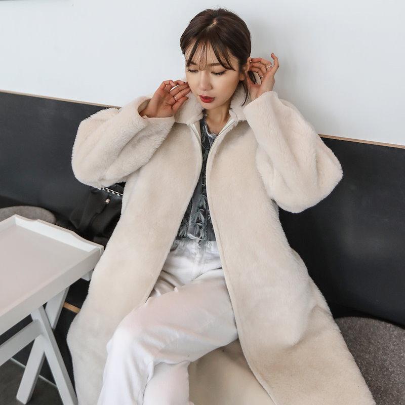 ♥送料 0円★PPGIRL_B289 Lake fur coat / long coat / over fit coat / faux fur coat / winter outer