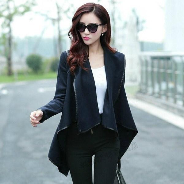 ファッション長袖ターンダウン襟オープンステッチウールプレーンレディースコートAbrigos Mujer 5色