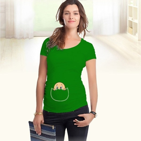 Baby Peeking Out 2016 New Maternity Shirt Specialized for Pregnant Women Plus Size European Big Size