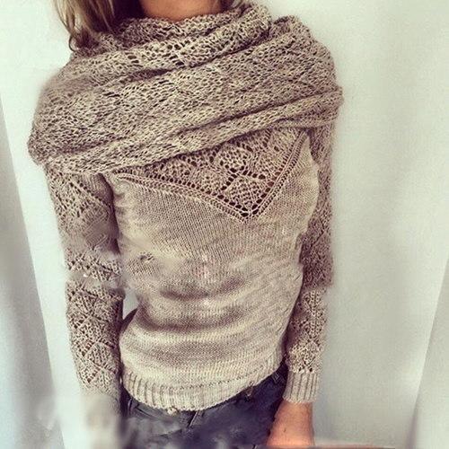 Female Women Long Sleeve Knitted Cardigan Loose Sweater Outwear Coat Casual Sweater