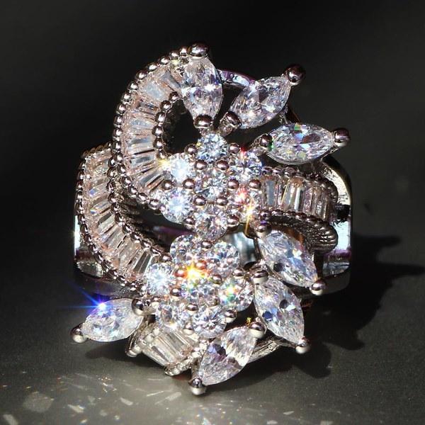 ラグジュアリー925シルバーホワイトサファイア天然石誕生石宝石婚約指輪結婚記念日