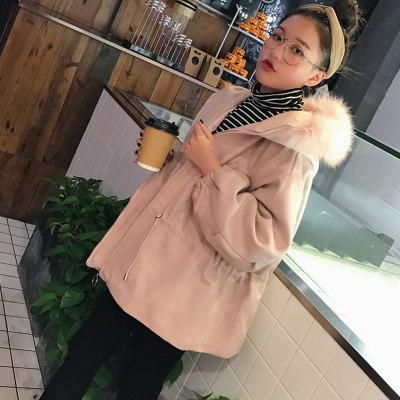 秋冬/新しいデザイン/女性服/韓国風/毛皮の襟/帽子付き/デュプレックス/ウールコート/学生/ランタンスリーブ/ウエスト/羊毛の/ジャケット