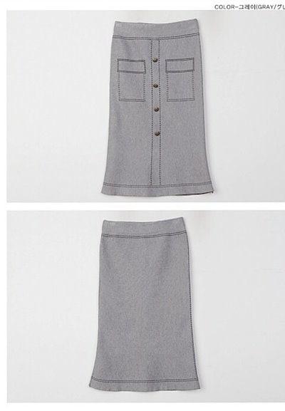 ニットプリントスリムカラーセータースカートスーツ(2色)  0553
