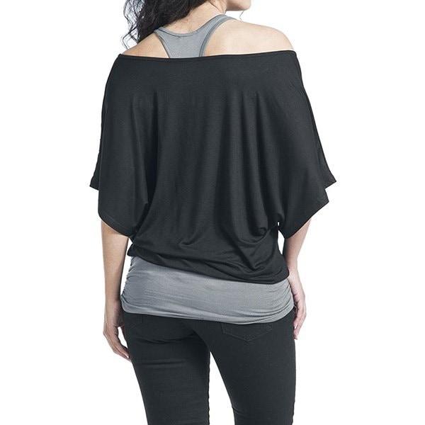 女性用クルーネックバットウィングスリーブタンクトップブラウスフェイクツーピースティーTシャツ