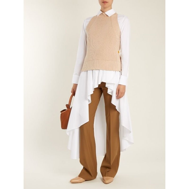 パルマーハーディング レディース トップス【Open-back ribbed cotton and lurex-blend top】Beige and metallic-orange