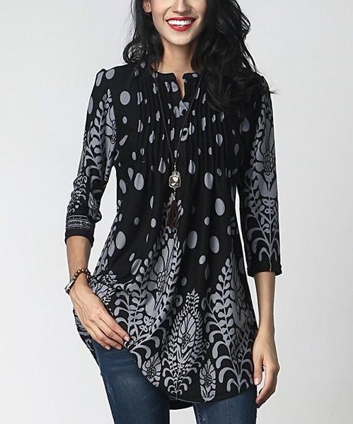 女性のファッション3/4スリーブピンタックノッチネックチュニックボタンプリントフリルブラウスWZG3042