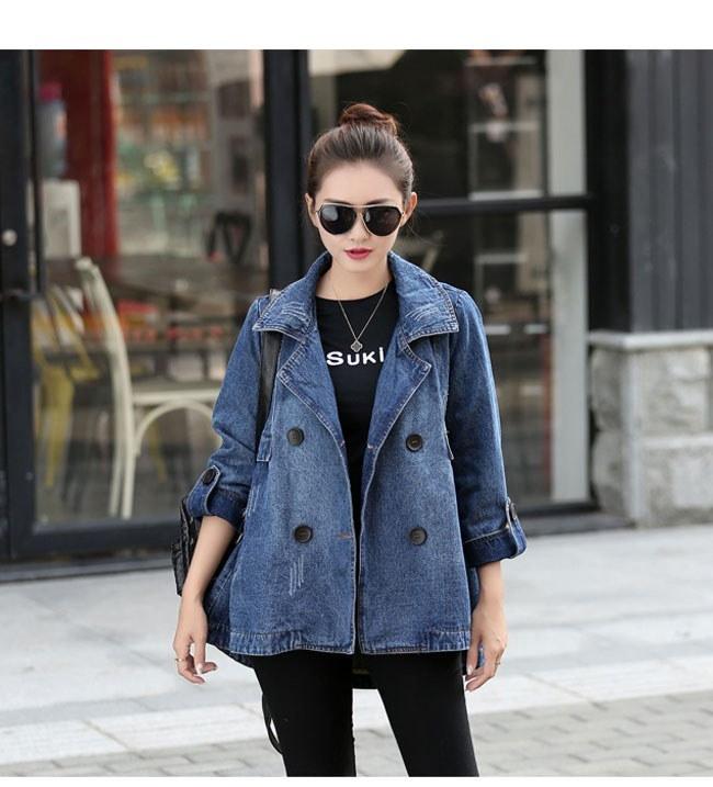 レディース服 女性 ファッション コート アウター トレンチコート ショート丈 秋服 ダブルボタン ゆったり 大きいサイズ ストリート風 カジュアル デニム ダメージ加工