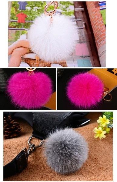 女の子のためのかわいいかわいいウサギのファーボールPomPom携帯電話のカーペンダのハンドバッグキーチェーンリング