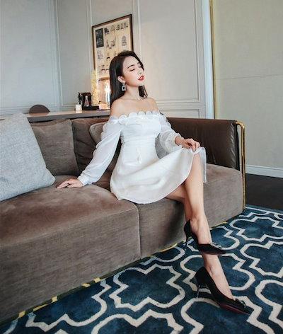 オフショルAラインホワイトワンピ 結婚式 婚活 二次会 お呼ばれ パーティー ドレス 2018