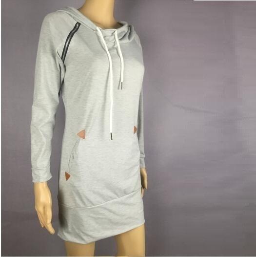プラスサイズS  -  5XL女性ファッションフード付き長袖セータードレスジッパープルオーバーシャツ5色