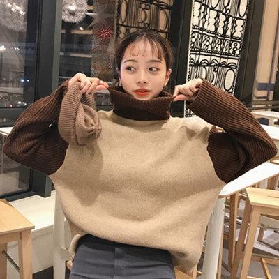 [55555SHOP]秋冬/女性服/新しいデザイン/韓国風/ハイネック/ヒットカラー/何でも似合う/長袖セーター/ルース/ヘッジ/セーターの女性/学生