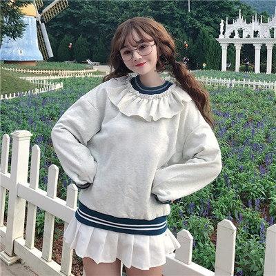 裏/小/秋冬/女性服/韓国風/若いもの/レースの襟/+/ルース/裏起毛/手厚い/セーター/アウターウェア