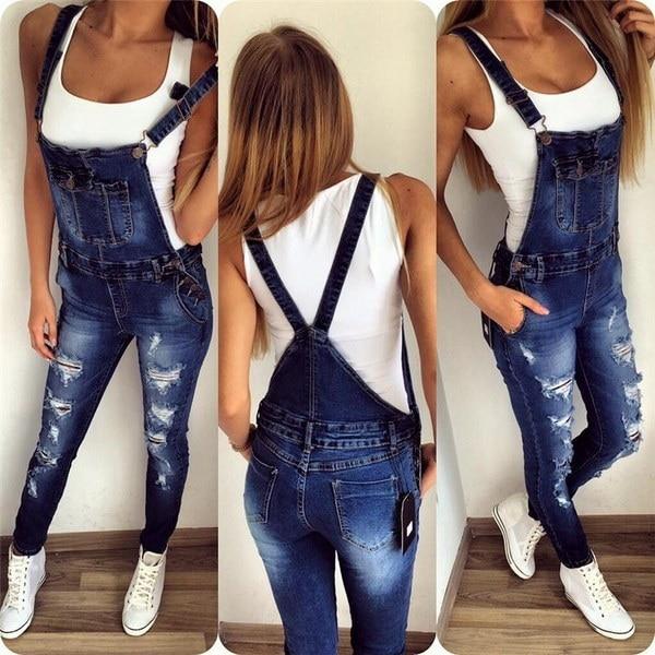 女性のブルーセクシーリップジーンズデニムジャンプスーツ
