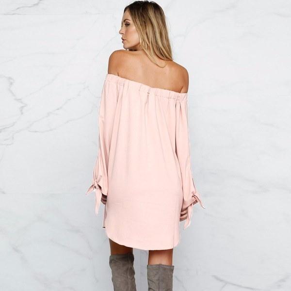ZANZEAセクシーな女性オフショルダーストラップレストップシャツロングスリーブクラブミニドレス