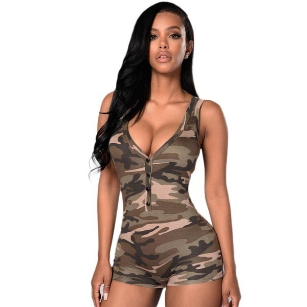 Womens Sexy V Neck Sleeveless Slim Fit Casual Romper Bodysuit