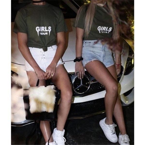 2017レディースファッションレタープリントセクシーなルーズショートスリーブカジュアルTシャツルーズオールマッチレディース