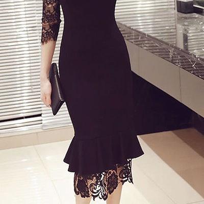 パーティードレス 結婚式 ワンピース お呼ばれ ドレス 20代 30代 40代 パーティー フェミニン 演奏会 発表会 美シルエットでセクシーにキマる マーメイドドレス 韓国 韓国ファッション 黒