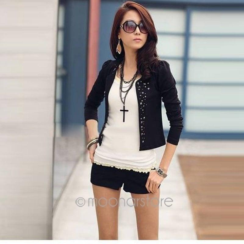 春の秋のためにファッション女性オルスタイルのラインストーンリベットパフスリーブロングスリーブ女性Sブラック/ホワイトスーツジャケット薄いショートコート