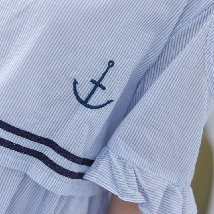 海軍風ワンピース セーラー風 フレアワンピース 森ガール ワンピース レディース