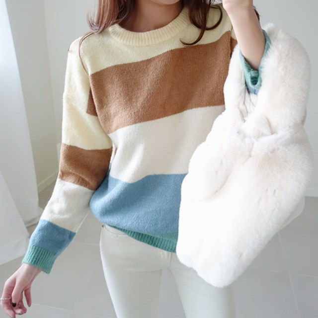 [Dimming] Rainbow stripe knit four colors