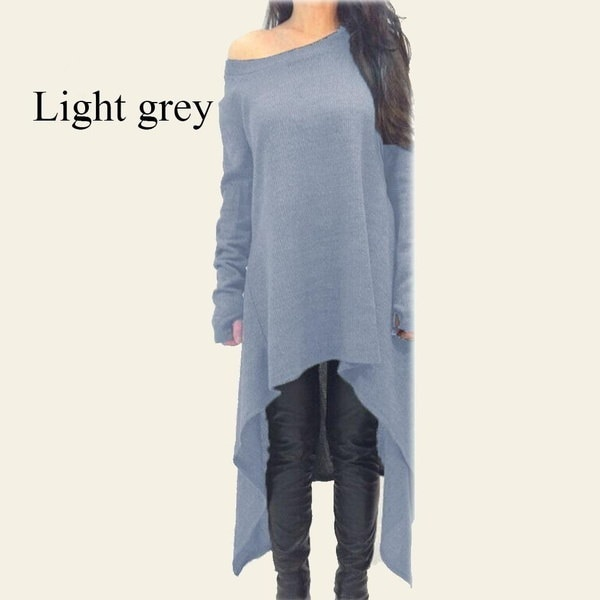 レディースファッション長袖不規則な裾スリムフィットチュニックドレスロングブラウス
