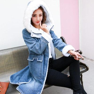 秋冬 アウター フード付き ファー付き 裏起毛 デニム 個性 シンプル レディーズ女性 カジュアル ファッション 合わせやすい