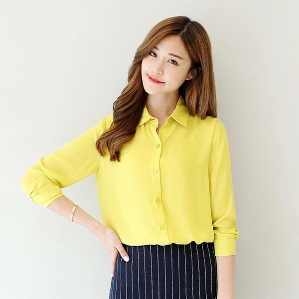 2016秋新ホットソリッドカラーラペルロングスリーブシャツプラスサイズのシャツシフォンブラウスシャツ女性