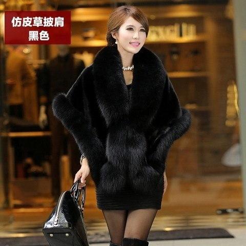 冬の女性の模造の毛皮のコート模造のミンクの狐の毛皮の網の花嫁のウェディングウェディングドレスケープS