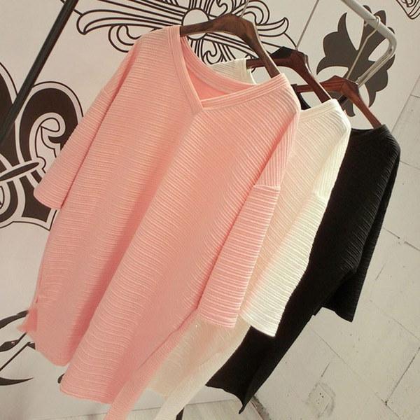 Vネック Tシャツ ロング Tシャツ チュニック ロングT 7分袖 ボーイフレンド風 レディース