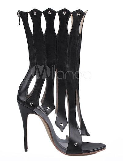 女性のための黒のカットアウトサンダルスタッドレザーブーツ